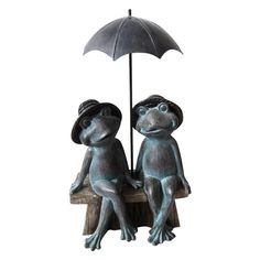 Alpine Sitting Frog Couple Under Umbrella Statue, 16 Inch Tall, Multi, Alpine Corporation (Polyresin), Outdoor Décor Frog Statues, Animal Statues, Garden Statues, Outdoor Landscaping, Outdoor Decor, Outdoor Living, Cat Statue, Orange Tabby Cats, Thing 1
