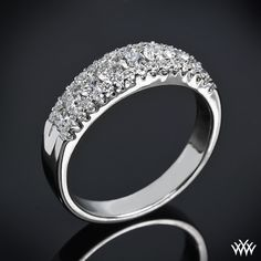 Sparkles galore, the 'Stairway to Love' Diamond Wedding Ring will capture every eye in the room.  This ring beams with 43 Round-Ideal Diamond Melee