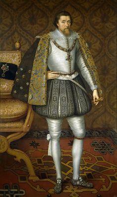 Critz the Elder , John De (Flemish-born English, ca.1552-1642) (приписывается) -- Иаков I Английский, после 1603, 196 см x 120 см, холст, масло