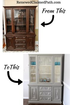 Home Decor Cozy Chalk painted china cabinet makeover.Home Decor Cozy Chalk painted china cabinet makeover Refinished China Cabinet, Painted China Hutch, China Cabinet Makeovers, Repurposed China Cabinet, China Hutch Makeover, Modern China Cabinet, Hutch Redo, Dresser Makeovers, Farmhouse China Cabinet