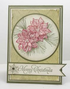 by Narelle Farrugia: Stamplicious 1-14-13. Stamps: Watercolour Winter, Many Merry Messages. SU paper: Always Artichoke cs, Very Vanilla cs, Brocade Background DSP. SU Ink: Always Artichoke, Real Red. Challenge: Merry Monday #45.