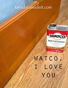 Got Wood? Dinged, scratched, knicked cabinets, doors, and baseboards can be saved with this magic in a can. It's cheap and doesn't require any elbow grease. Great alternative to stripping. I've used Watco since the and have had great success. Do It Yourself Furniture, Do It Yourself Home, Diy Furniture, Furniture Repair, Furniture Refinishing, Furniture Doctor, Restore Wood Furniture, Refurbished Furniture, Furniture Plans