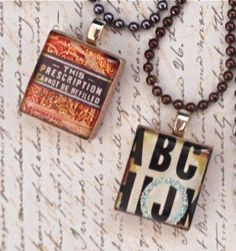 "Vintage scrabble tile pendants from our set ""Vintage Advertising"" - Mango and Lime Design"