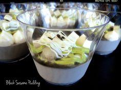 Black Sesame Pudding with Matcha Green Tea Cream and Rice Dumplings