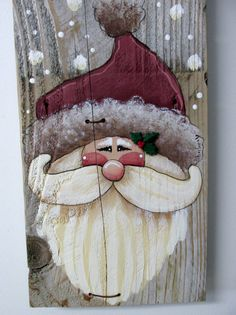 Green Welcome Sign featuring Santa, Hand Painted on Reclaimed Barn Wood, Rustic Barn Wood, Christmas Decoration, Welcome Santa Sign  This Green WELCOME Santa sign is based on a Susan Jill Hall design. It has been adjusted and adapted to fit on to a piece of old reclaimed barn wood. The barn wood measures 10 inches tall x 7 1/2 inches wide and is 13 1/2 inches tall to include the fencing wire. Fencing wire is used as a hanger and has jingle bells and a piece of homespun fabric as a decoration…