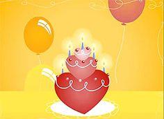 Cumpleaños torta corazones - Correomagico | Mágicas postales animadas gratis - Tarjetas de Cumpleaños
