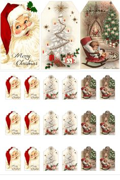 Vintage Christmas Gift Tags from The Birch Cottage These free printable vintage Christmas gift tags were inspired by vintage Christmas cards and add a festive touch to your gift wrapping! Christmas Tags Printable, Christmas Labels, Vintage Christmas Cards, Christmas Crafts, Christmas Decorations, Christmas Christmas, Vintage Christmas Decorating, Christmas Ideas, Cottage Christmas