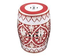 Garden Seat Ull Soft - Vermelho Garden Seating, Garden Chairs, Exterior Design, Interior And Exterior, Ceramic Stool, Porcelain Ceramics, Painted Ceramics, Chinese Garden, Ceramic Painting