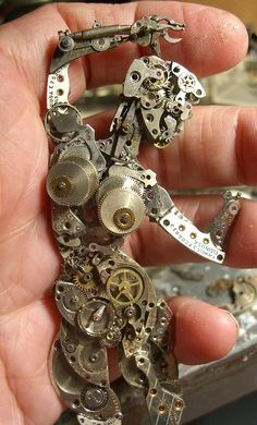 Steampunk watch sculpture by Susan Beatrice, All Natural Arts.