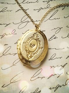 Valentines Day Gold Locket Jewelry Necklace by LimonBijoux on Etsy