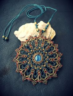 Macrame Mandala with Kyanite by EarthBoundMacrame on Etsy