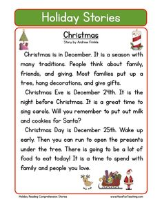 This Christmas Reading Comprehension Worksheet will help your students build their reading comprehension skills while reading about Christmas traditions.