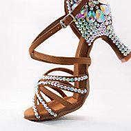 Damskie Buty Do Latino Satyna Obcas Brokat Klamra Dodatki Krysztalowe Obcas Flare Personlaizowane Buty Do Tanca Czar Shoes Cross Training Shoes Latin Shoes