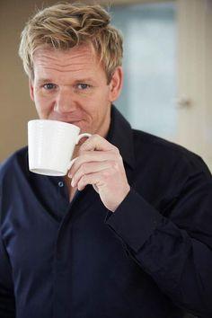 Gordon Ramsay drinking coffee