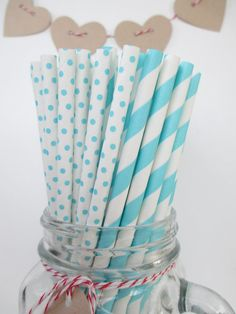 50 Vintage Style Tiffany Blue Striped and Swiss Dot Mix Paper Straws Printable Flag PDF Lips Mustache on Etsy, $8.00