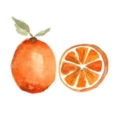 Orange study no 2, botanical art Print of original still life watercolor painting, minimalist, tangerine tango ,kitchen art on Etsy, $21.00