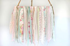 Baby Mobile ribbon lace & fabric baby mobile by TheGlitteredBarn