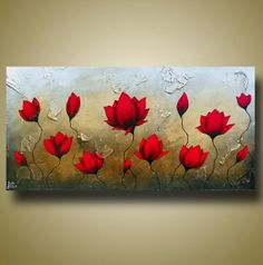 Red Flower Painting with Texture Lotus Flower Art by BrittsFineArt, $340.00