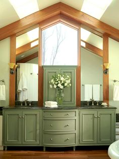 Olive Green Vanity with Pitched Ceiling Above Unique Bathroom Mirrors, Rectangular Bathroom Mirror, Bathroom Mirror With Shelf, Diy Vanity Mirror, Bathroom Vanity Designs, White Vanity Bathroom, Bathroom Vanity Lighting, Bathroom Vanities, Mirror Makeover