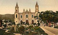 Antonio Guzmán Blanco decretó el 27 de marzo de 1874 convertir la estructura de una antigua Iglesia en un panteón, el Panteón Nacional, sitio en el que descansarían los restos de los personajes ilustres del país. La razón para esta decisión se debió a su ubicación y a sus antecedentes históricos. Fue inaugurado el 28 de octubre de 1875.