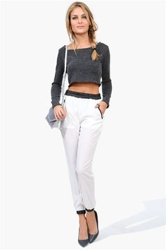 Biker Leather Harem Pants in White