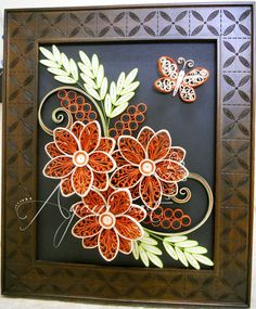 Quilling in Cream and Red