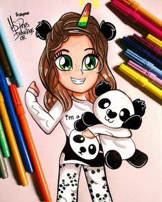 Kawaii Girl Drawings, Cute Animal Drawings Kawaii, Cute Easy Drawings, Cute Girl Drawing, Girly Drawings, Cartoon Girl Drawing, Disney Drawings, Cartoon Drawings, Kawaii Disney