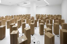 Hundreds of motorized cardboard boxes rippling in a hypnotic dance within the white walls of the Borusan Contemporary gallery, which hosts this latest installation of Swiss artist Zimoun.