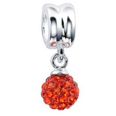 Gems and  Silver Red Ball Crystal Dangle Charms  Fit pandora,trollbeads,chamilia,biagi and any customized bracelet/necklaces. #Jewelry #Fashion #Silver# handcraft #DIY #Accessory