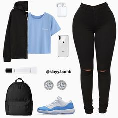 crop top outfits with ripped jeans Swag Outfits For Girls, Boujee Outfits, Cute Swag Outfits, Teenage Girl Outfits, Cute Comfy Outfits, Cute Outfits For School, Teen Fashion Outfits, Dope Outfits, Trendy Outfits