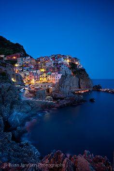Evening Manarola in the Cinque Terre, Liguria Italy