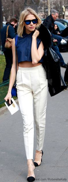 White Pants, Elegant Blue Top, Strikingly Great Sunglasses!  The Whole Package!  Street Style
