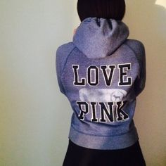 LOVE PINK HOODIE Cute hoodie. Blue gray color. Good condition. NO TRADES OFFERS WELCOME  PINK Victoria's Secret Sweaters
