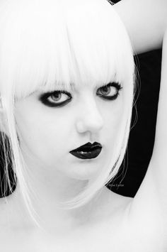 white hair, black makeup