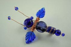Bead Bug Fairy Fly Brooch - Beaded Insect - Sapphire - September