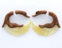 Fake Gauge Earrings ,Tribal Style, Mother of pearl Shel l  gold shell Swan #Anela