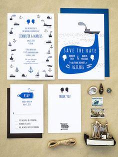 nautical sea printable wedding stationery