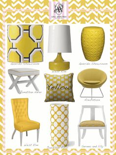 Hmm - could make my yellow bathroom accented w grey. love it. >Yellow accents for the gray bedroom!