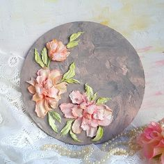 Floral painting in original Sculpture art teqnique.. Home decor with  pink flowers. Stucco art. Impasto. Unique gift for home interior