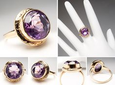 2.8 Carat Bezel Set Antique Amethyst Cocktail Ring Floral Details 14K Gold - EraGem