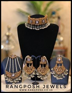 gold plated choker set in American diamonds and pearls. Set includes choker, earrings, over sized tikka and jhoomar. A nose ring can be added for free upon request. Asian Bridal Jewellery, Wedding Jewellery Designs, Pakistani Jewelry, Indian Wedding Jewelry, Indian Jewellery Design, Wedding Jewelry Sets, Indian Jewelry, Indian Bridal, Wedding Accessories