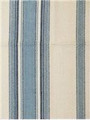 "Canyon Stripe Blue.  Laura & Kiran fabric, 100% organic cotton, Repeat: H: 9"". 54"" wide. Yarn dyed up the roll stripe."