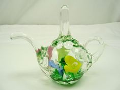 Glass Joe St.clair Blown Glass Multi-colored Flowers With Floating Bubbles Paperweight Art Glass