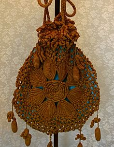 Vintage 1900s Crocheted Lace Purse Drawstring Bag by jantiques, $95.00