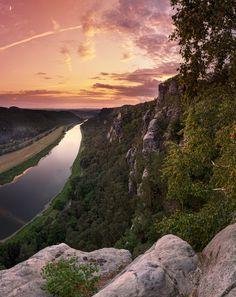 Sunset above river Elbe, Saxon Switzerland, Germany, by Jens Bohme