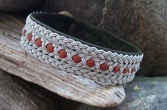 Sami Lapland Jewelry Bracelet, Moss Green and Tan Reindeer Leather, Pewter Wire Braids. $82,00, via Etsy.