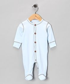 I really love Baby Steps baby clothes - very soft and such simple little designs... Take a look at this Baby Steps Blue & Brown Star Footie - Infant by A Touch of Chocolate: Babywear on #zulily today!