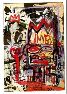 Jean Michel Basquiat Raw Painting, Postcard Size Warhol, Twombly Era, NYC  #Expressionism