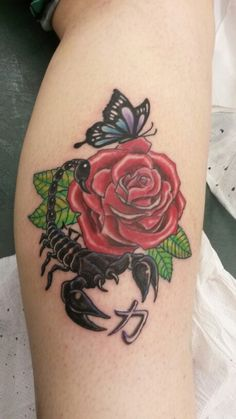 Scorpion rose butterfly tattoo