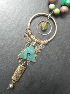 OOAK teal Boho necklace  semiprecious jewelry  by SumertaDesigns